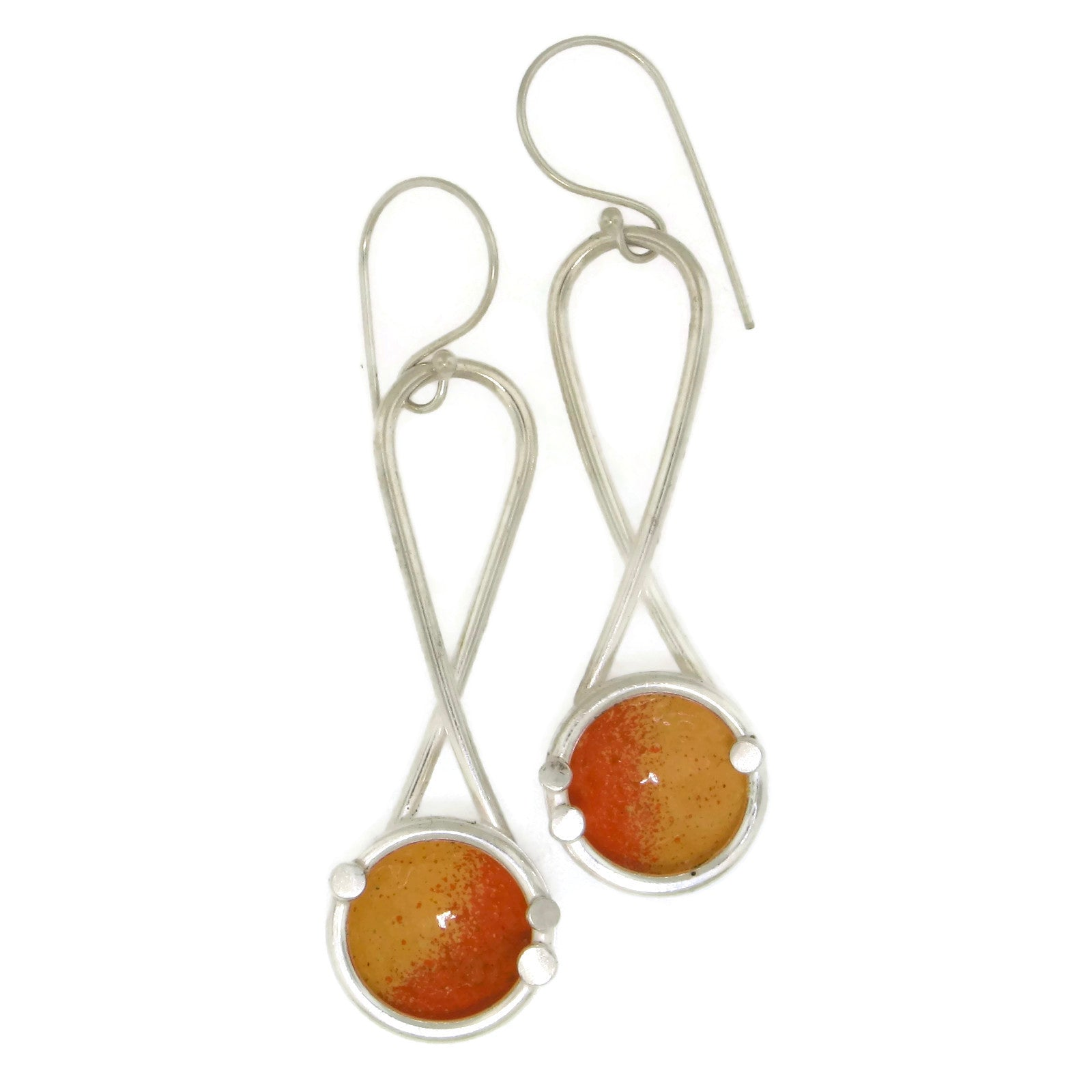 Hanging Enamel Dome Earrings Yellow/Orange