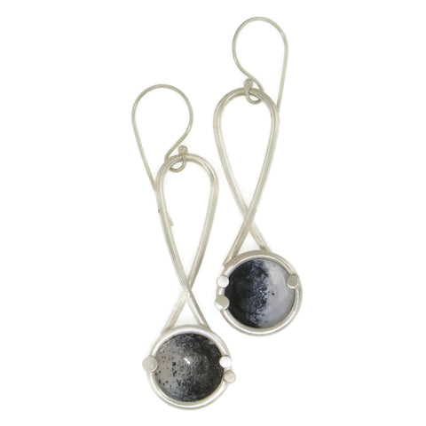 Black/White Hanging Dome Earrings