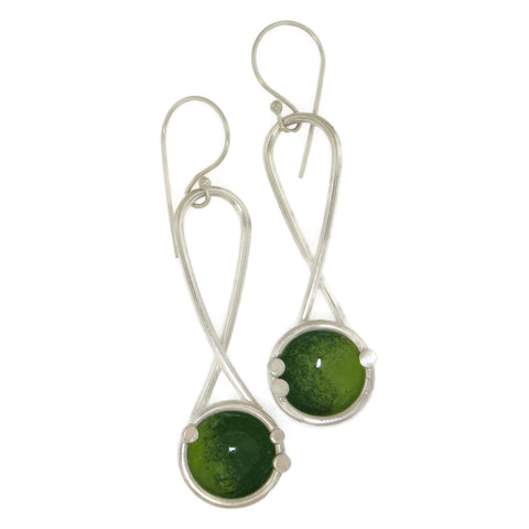 Green Hanging Dome Earrings