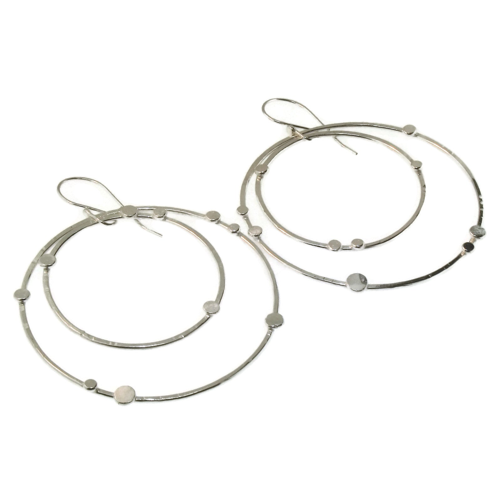 Large Sterling Silver Dit Dot Double Hoop Earrings