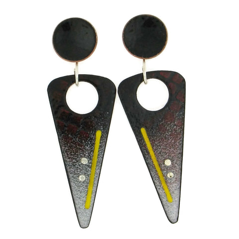 Triangle Enamel Earrings