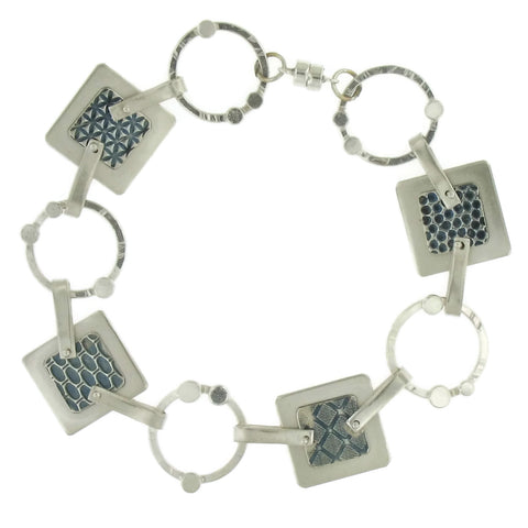 Textured Sterling Silver Circle/Square Bracelet