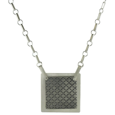 Textured Sterling Silver Large Square Necklace