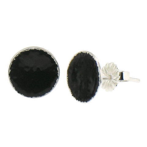 Black Enamel Dot Earrings