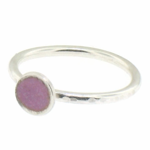 Pink Enamel Dot Stacking Ring