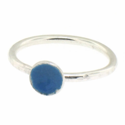 Light Blue Enamel Dot Stacking Ring