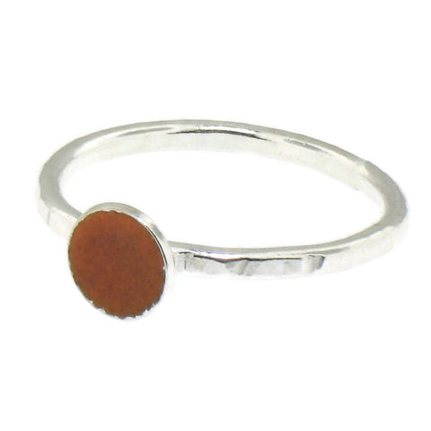 Orange Enamel Dot Stacking Ring