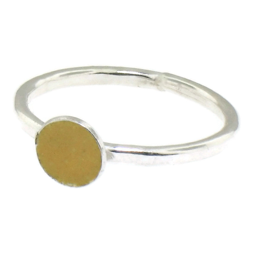 Yellow Enamel Dot Stacking Ring