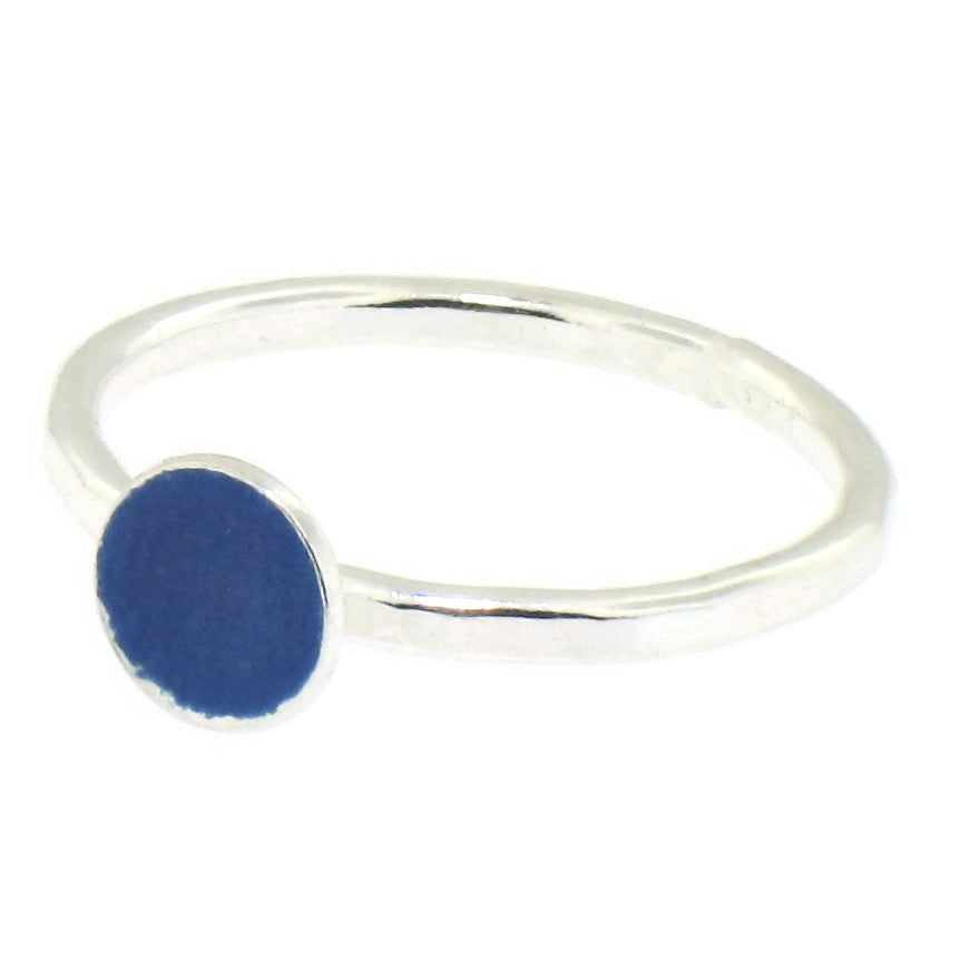 Navy Blue Enamel Dot Stacking Ring