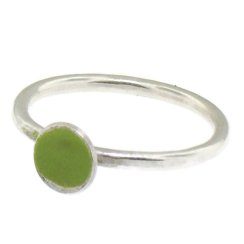 Light Green Enamel and Silver Stacking Ring