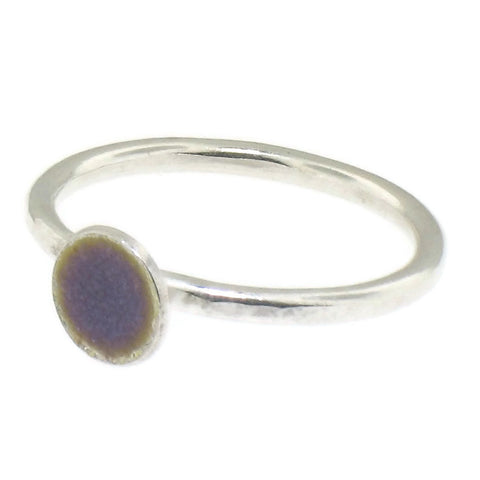 Purple Enamel and Sterling Silver Handmade Stacking Rings