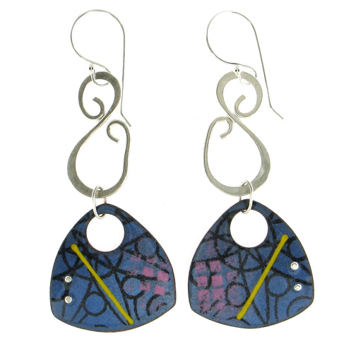 Swirl Top Enamel and Silver Earrings
