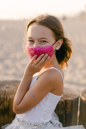 Kids Pink Tulle & Sequin Masks