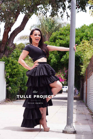 QUEEN BEE ~ low high layered tulle skirt