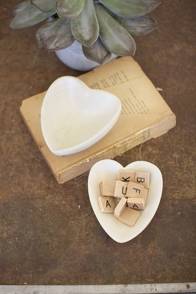 Carved Stone Heart Bowl