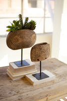 Wood Cowbell Planter