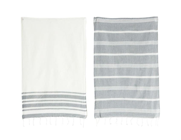 Gray and White Fringe Tea Towel