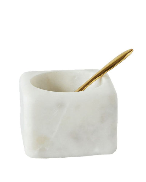Marble Salt Bowl with Brass Spoon