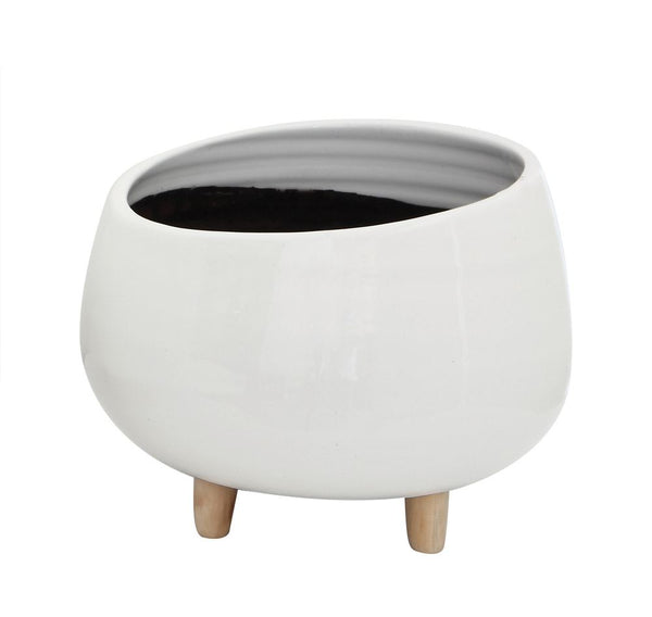 Planter with Wood Feet