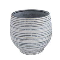 Gray and White Striped Planter: Large