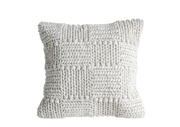 "20"" Square Knit Cream Pillow"