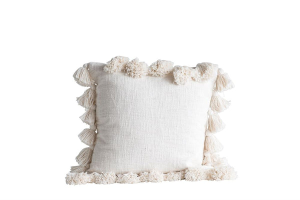Tassel Pillow: cream, Gray, yellow, brick, navy