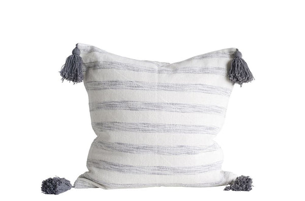 Gray and White Tassel Pillow