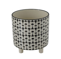 Large Black and White Footed Planter