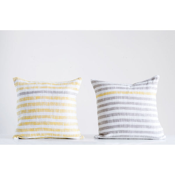 Gray and Yellow Striped Pillow