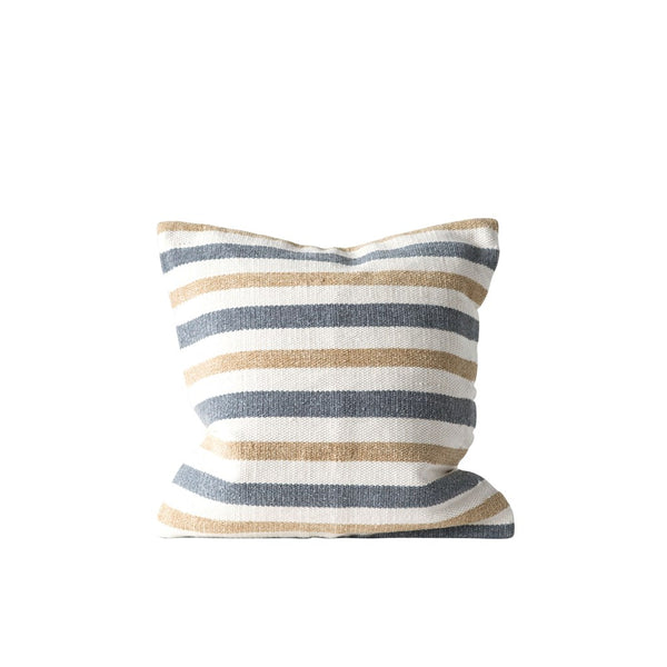 Gray and Mustard Striped Pillow