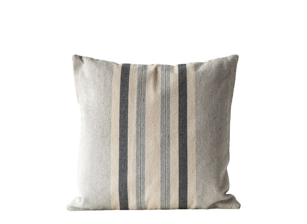 Blue and Gray Striped Cotton Pillow