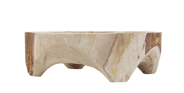 Footed Wood Bowl