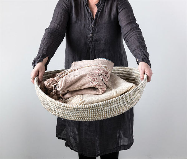 Large Woven Basket Tray