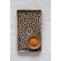 Hand Carved Wood Tray: Large