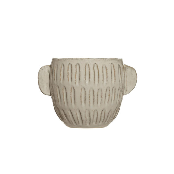 White Embossed Pot