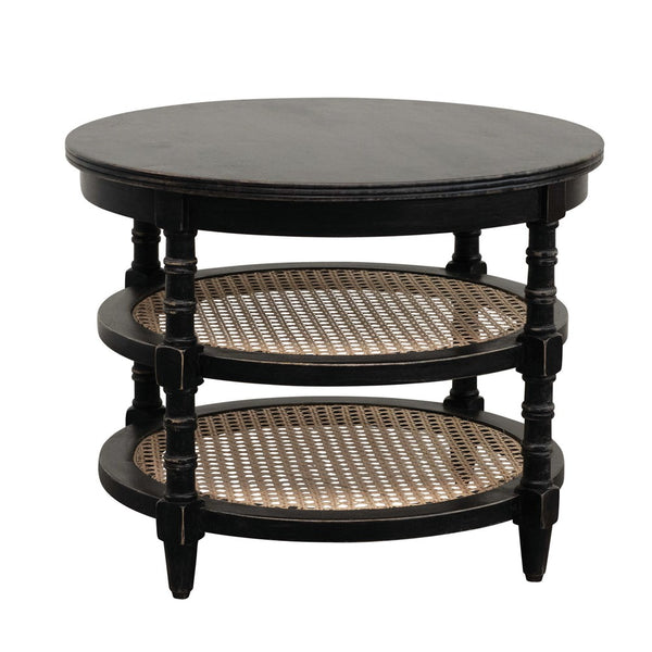 Black and Cane Side Table