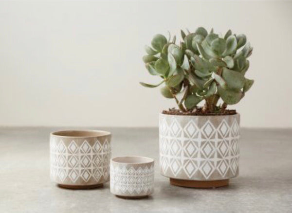 Gray and White Planter: Small