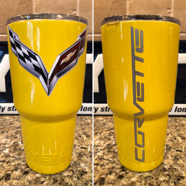 Corvette YETI Rambler 30oz - Powder Coated Gloss Yellow-Stingray Corvette logo - That's My Yeti
