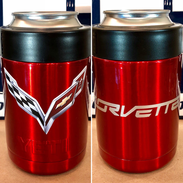 Corvette YETI Colster-ALL SIZES-Powder Coated Candy Red-C7 Stingray Logo