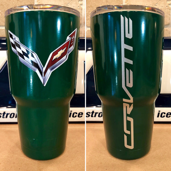 Corvette YETI Rambler 30oz-MANY SIZES -Powder Coated Hunter Green-C7 Corvette logo