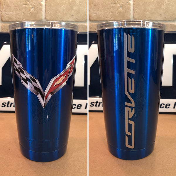 Corvette YETI Rambler 20oz-Powder Coated Candy Blue-C7 Stingray Logo