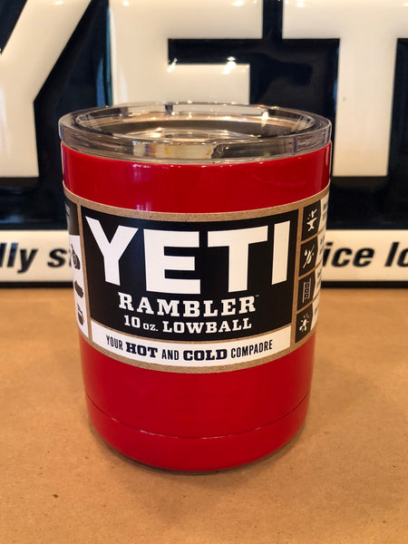Red Yeti Rambler Lowball 10oz w/Lid-ALL SIZES AVAILABLE-Powder Coated