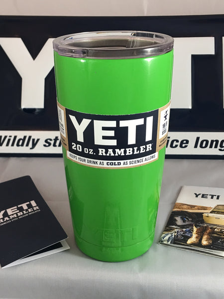Gloss Lime Green YETI Rambler Tumbler 20oz Powder Coated in Gloss Lime Green-Guaranteed Authentic