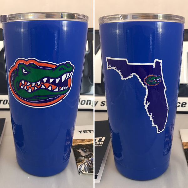 Florida YETI Rambler Tumbler 20oz in Gloss Blue with Florida Gators Logo - Powder Coated