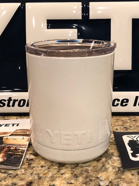 White YETI Rambler Low Ball 10oz w/Lid-Powder Coated Gloss White