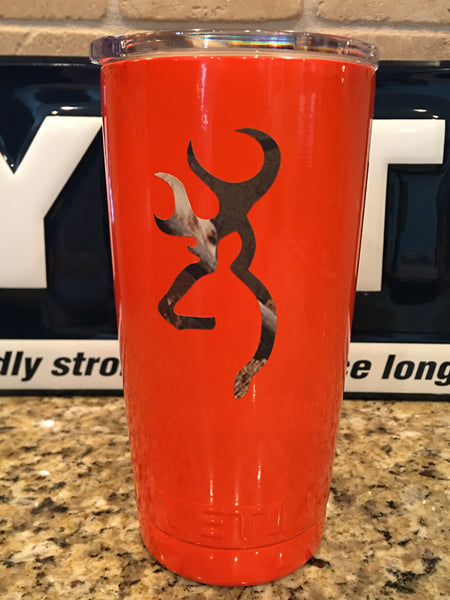 Browning Camo Yeti Rambler Tumbler 20oz w/Lid-Camo Logo-Orange Powder Coat - That's My Yeti