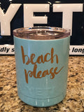 Tiffany Yeti Rambler Lowball 10oz w/Lid-Powder Coated-Tiffany Blue Sparkle-BEACH PLEASE