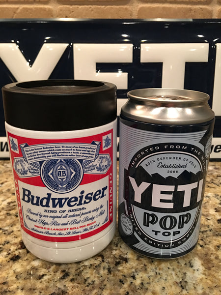 Custom Budweiser YETI Rambler Colster-Powder Coated Gloss White - That's My Yeti