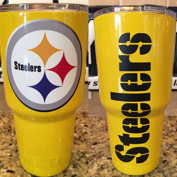Steelers Powder Coated YETI Tumblers Bottles and Colsters in Yellow Gloss-Pittsburgh Steelers