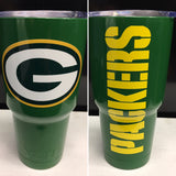 Packers Yeti Rambler Tumblers-Powder Coated Gloss Packer Green-Green Bay Packers